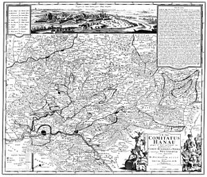 Hanau-Münzenberg - Map of the county Hanau-Münzenberg by Friedrich Zollmann 1728