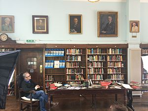 Conway Hall Ethical Society - Photo of Conway Hall Library with comedian Robin Ince.