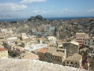 Corfiot Italians - View over Corfu City from the New Fortress, with the Old Fortress visible in the background.