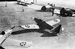 Corsicana Field - Fairchild PT-19 trainers on Flight Line.jpg