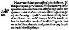 Photographie d'un paragraphe latin contenant le mot «America».