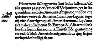 Cosmographiae Introductio - That part of the page of the 1507 (September) edition of the Cosmographiae Introductio in which the name of America is proposed for the New World. From Narrative and critical history of America, Volume 2 by Justin Winsor.