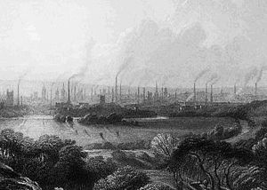Jevons paradox - Coal-burning factories in 19th-century Manchester, England. Improved technology allowed coal to fuel the Industrial Revolution, greatly increasing the consumption of coal.