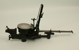 Course Setting Bomb Sight - The post-WWI Mk. IIH was one of a series of Mk. II designs introduced around 1920. Two differences in this H model are the prominent spirit level assembly on the left, and the doubled-up drift wires on the right that make it easier for the bomb aimer to measure and correct residual wind drift. More difficult to see is the trail setting screw, which rotates the height bar forward.