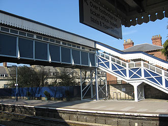 Footbridge - A covered footbridge over the railway lines at Stroud, England