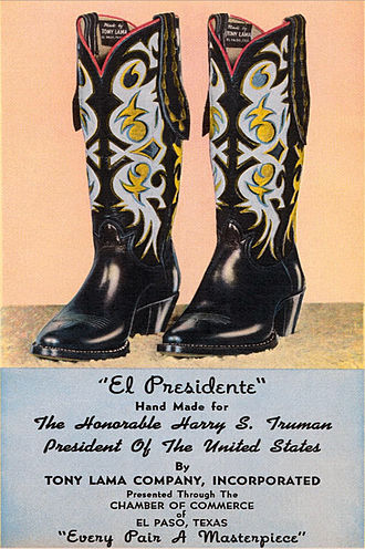 Cowboy boot - Ad for Tony Lama featuring custom boots made for President Harry S. Truman.