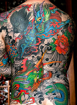 Custom Japanese backpiece tattoo by Greg James