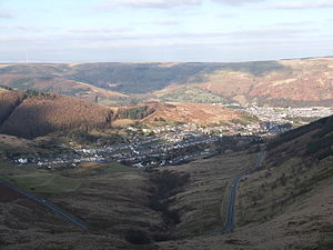 South Wales Valleys - Cwmparc, near the head of the Rhondda Fawr, showing typical scenery