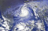 Satellite imagery of Cyclone 05B in the Bay of Bengal. Cyclone 05B 1999 India Bay of Bengal satellite image NOAA cropped.jpg