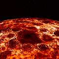 Cyclone storms encircle Jupiter's North Pole, captured in infrared light by NASA's Juno spacecraft.png