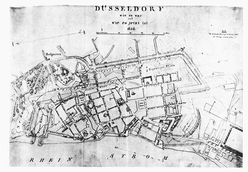 File:Düsseldorf, Königsallee mit den ehemaligen Bastionen, Stadtplan von 1826.jpg