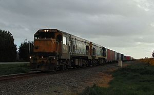 Cato Blue (livery) - DC 4110 and DCP 4755 with a freight train approaching Tinwald.
