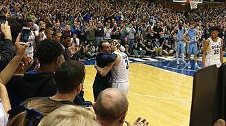 Grayson Allen - Coach K embraces Allen at the end of his final home game at Duke University.