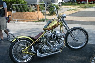 """Indian Larry - The Daddy-O (Rat Fink) bike was Larry's tribute to Kustom Kulture icon Ed """"Big Daddy"""" Roth. It features dual carburetors and late 60s style paint."""