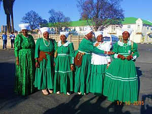 Damara people - Damara women in ankle length Victorian style Damara Dresses adopted from the wives of missionaries