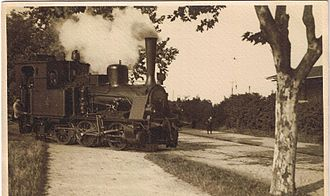 Pfungstadt Railway - Exit of a T3 locomotive from the grounds of the brewery. Taken by Ernst Büchner, ca. 1914