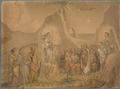 Dante sieht zwei Engel mit Flammenschwertern zu den Seiten einer Schar Seelen, unter welchen Malaspina, der ihm seine Verbannung aus Florenz prophezeit (SM 942k).png