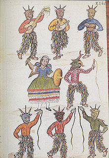 An ancient painting of seven demons dancing.