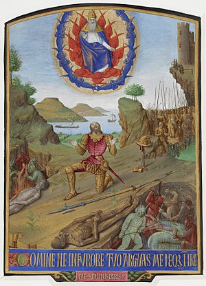 """Psalm 6 - Illumination from the Hours of Étienne Chevalier, created by the artist Jean Fouquet in the 1450s.  David, in armour, kneels in penitence before God encircled by cherubim, while in the foreground lies a corpse, with devils torturing souls. Below, in gold capitals on a blue ground, are the opening words of Psalm 6: Domine ne in furore tuo arguas me neque in ira tua corripias me - """"Lord, rebuke me not in thine anger, neither chastise me in thy wrath."""""""