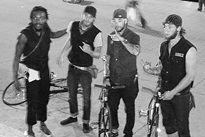 Dayton Dark Flight gang members after a bike r...