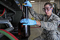 Defense.gov News Photo 100412-F-4583H-014 - U.S. Air Force Senior Airman Aaron Graham a fuels laboratory technician with the 28th Logistics Readiness Squadron drains JP-8 fuel from a.jpg