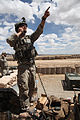 Defense.gov News Photo 100520-A-6285M-187 - U.S. Air force Tech. Sgt. Luke Smith calls for air support at Combat Outpost Jaghato Afghanistan on May 20 2010. Smith is assigned to 9th.jpg