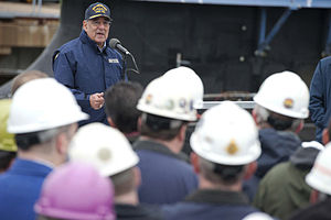 Defense.gov News Photo 111117-D-BW835-005 - Secretary of Defense Leon E. Panetta speaks to the crew of the USS Mississippi and workers from General Dynamics Electric Boat in Groton Ct. on.jpg