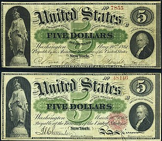 "United States Note - Comparison of a $5 Demand Note (upper image) and an 1862 issue $5 United States Note (lower image). Note the removal of the words ""On Demand"" and of the phrase ""Receivable in Payment of All Public Dues"". Also note the Treasury Seal added to the United States Note."