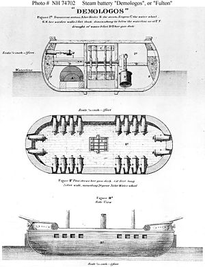 United States floating battery Demologos - Three-view of Demologos as originally portrayed to the US government. The resulting vessel differed greatly from this early proposal.