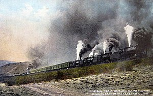 Bank engine - 1915 photo of a quadruple header (4 front locomotives) train with a rear helper, climbing the Denver & Rio Grande Western's grade up Soldier Summit