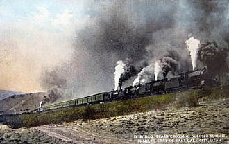 Hueneme, Malibu and Port Los Angeles Railway - Train employing helper engines on both front and rear.
