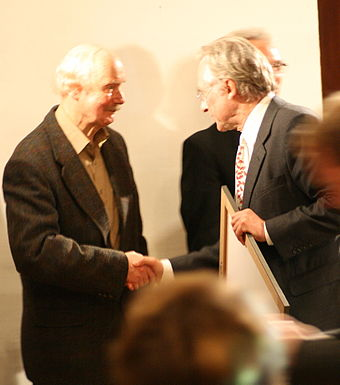 Receiving the Deschner Prize in Frankfurt, 12 October 2007, from Karlheinz Deschner Deschner Dawkins.jpg