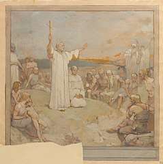 Design for Willibrord Preaching to the Frisians