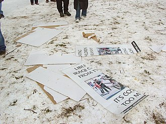 January 20, 2005 counter-inaugural protest - Protest Warrior signs lay on the ground after having been destroyed during the confrontation.