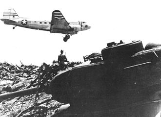 Air Resupply And Communications Service - Detachment 2, 21st Troop Carrier Squadron C-47 landing at a rough airstrip in South Korea, 1951.