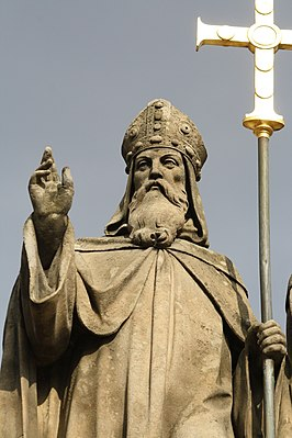 Detail of Saint Methodius statue in Třebíč, Třebíč District.jpg