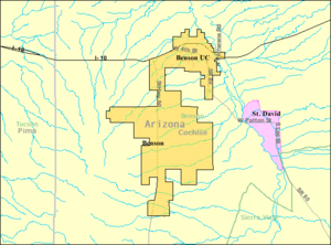 St. David, Arizona - Image: Detailed map of Benson, Arizona