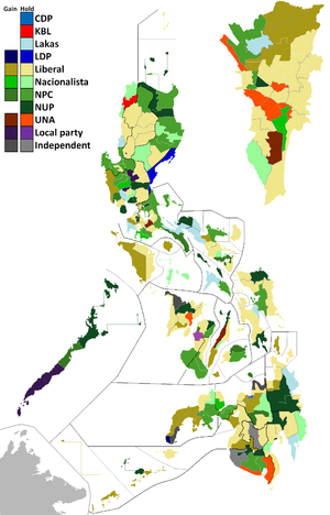 Philippine House of Representatives elections, 2013 - Same as above, but showing district gains and losses.