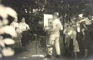 Hanns Diehl -  Diehl at his easel outdoors, 1920s
