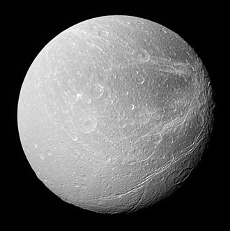 Dione (moon) - Dione photographed in natural light by the ''Cassini'' spacecraft in 2008