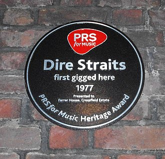 Dire Straits - PRS for Music heritage plaque commemorating Dire Straits' first performance in Deptford, London