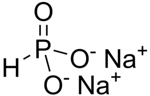 Phosphite anion - Cartoon of Na<sub>2</sub>HPO<sub>3</sub>.  The anion has C3v symmetry.