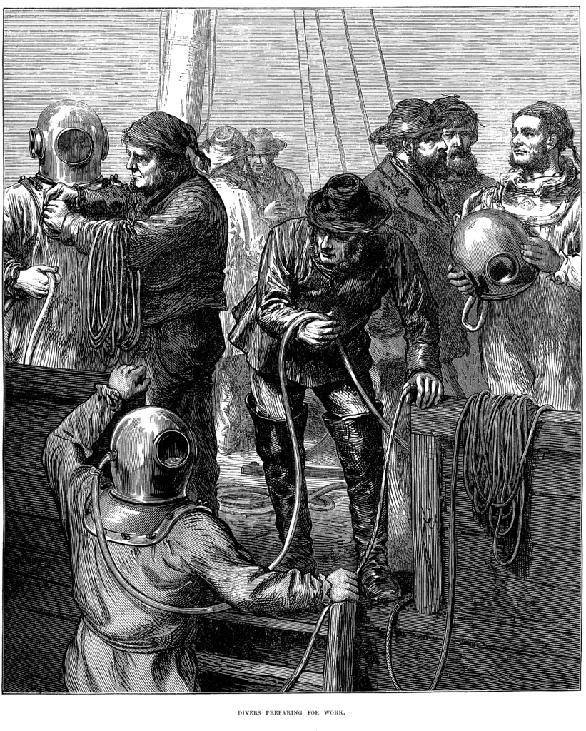 Diving operations in 1873