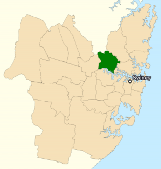Division of Bennelong - Division of Bennelong shown within Sydney, as of the 2016 federal election.