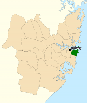 Division of Wentworth - Division of Wentworth in New South Wales, as of the 2016 federal election.