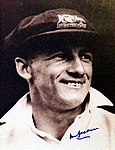 Signed portrait of Donald Bradman