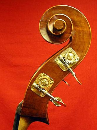 Worm drive - A double bass features worm gears as tuning mechanisms