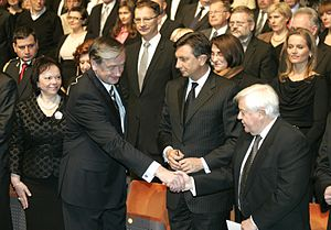 Milan Kučan - Kučan at the 2010 state commemoration of the Reformation day with Danilo Türk and Borut Pahor