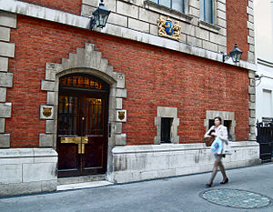 Worshipful Company of Drapers - Administration entrance to Drapers' Hall pictured in 2012.