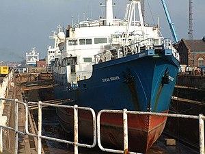 """Gardline Group - Three Gardline ships awaiting dry dock repairs in Hull, """"Ocean Seeker"""", """"Ocean Observer"""" and """"Sea Explorer""""."""